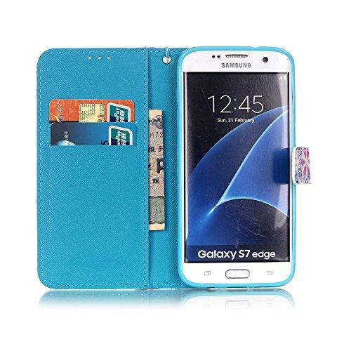 Funda para Galaxy S7 Edge, Galaxy S7 Edge Funda de PU cuero resistente, Galaxy S7 Edge Ultra Slim PU Cuero Folding Stand Flip Funda Carcasa Caso,Galaxy S7 Edge Leather Case Wallet Protector Card Holde atrapasueños