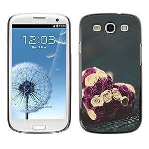 Rose Amor San Valentín Ramo Floral - Metal de aluminio y de plástico duro Caja del teléfono - Negro - Samsung Galaxy S3