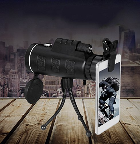 PLLP Swing-Type Eyepiece 40X60 Monocular Telescope High-Power High-Definition Night Light with a Compass,Black by PLLP