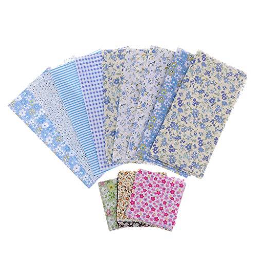 FLAMEER 約39ピース コットン 花柄 生地 布 キルティング 多目的 縫製 全5色 - 青の商品画像