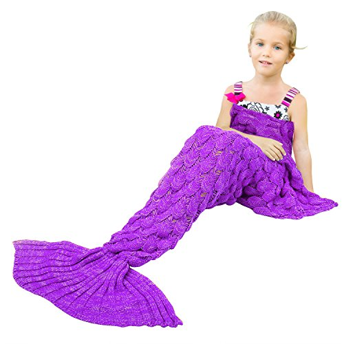 BATTOP Mermaid Tail Knitted Blanket for Kids-(Fish Scale Style-Child size, Purple) (Fish For Kids)