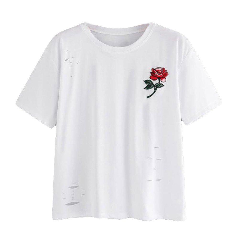 Kaitobe Womens Tops Fashion Short Sleeve Round Neck T-Shirts Rose Print Hollow Casual Tunic Blouse Tops Shirts