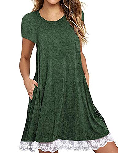 (Halife Women's Sundresses Short Sleeve Patchwork Loose Swing Casual Dress with Pockets Knee Length Green,XL )