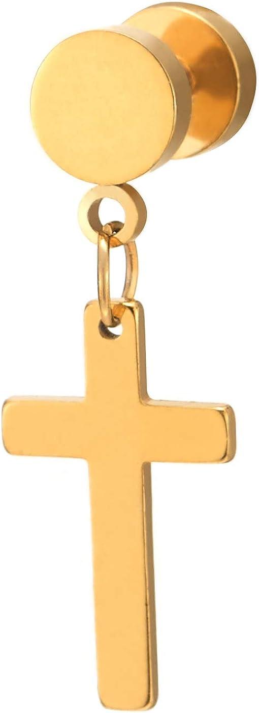 1 Paire Noir Boucles doreilles avec Croix Acier Inoxydable pour Homme Femme Gar/çons
