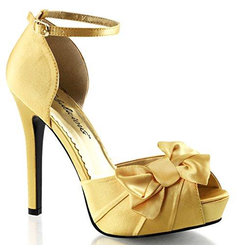 Satin Sandalette, Damen, Gelb (gelb) Gelb (Gelb)