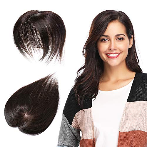 100% Remy Human Hair Silk Base Top Hairpieces for Women Beauty Clip in Topper Replacement Crown Wiglet Short Straight 6