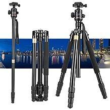 "Vivider (TM) 62"" Max Load 8KG 17.6LBS Professional Aluminum Camera Tripod Monopod with Ball Head Quick Release Board for DSLR Tripod (Canon, Nikon, Pentax, Sony, Leica, Fuji, Lumix, Olympus) Super Light-weight Golden"