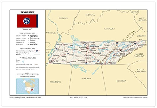 (13x19 Tennessee General Reference Wall Map - Anchor Maps USA Foundational Series - Cities, Roads, Physical Features, and Topography [ROLLED])