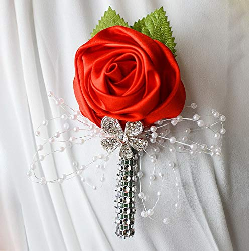 Gatton 2pc Pack-Handmade Men's Lapel Satin Flower Pearl Decor Boutonniere Pin for Suit ding Groom Groomsmen Brooch Rose Boutonniere (Red) | Model WDDNG - 1938 |