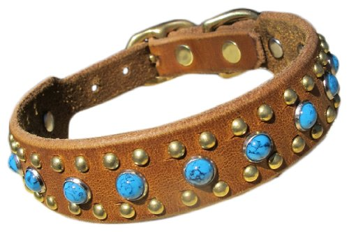 "Paco Collars - ""Rico"" - Exclusive Handmade Leather Small Dog Collar- 3/4"" Wide - Silver - Black 8""-10"""