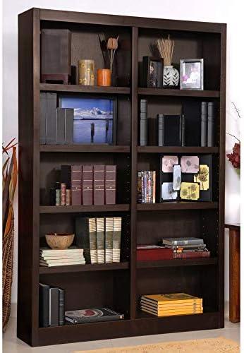 Ten Shelf Double Bookcase 72 H Espresso Finish