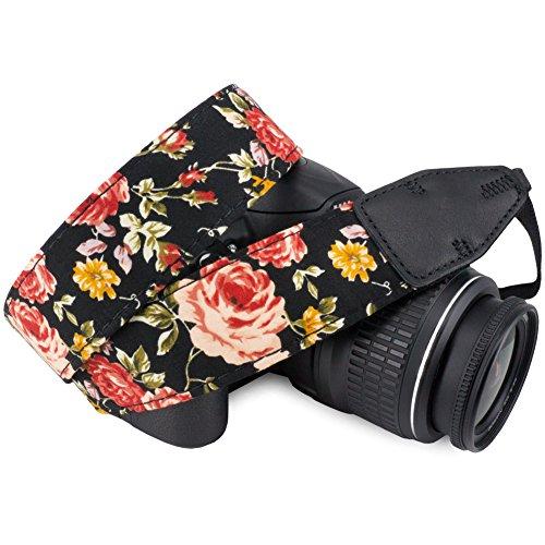 Neck Shoulder Strap - Wolven Pattern Cotton Camera Neck Shoulder Strap Belt Compatible for DSLR/SLR/Men/Women etc, Black Rose