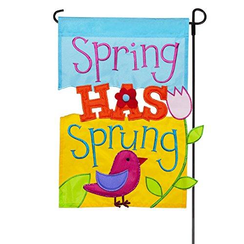 Jetmax Spring Has Sprung Deluxe Sculpted Applique Garden Flag