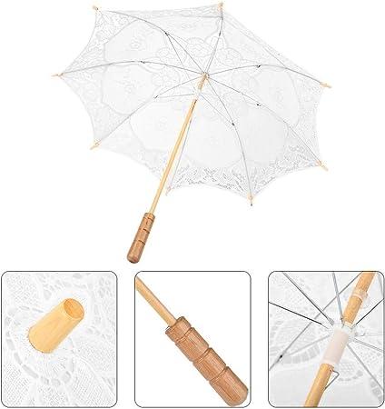 Shanbor Paraguas de Encaje de Boda, Sombrilla de algodón Sombrilla Paraguas de Novia, para Boda(Milky White Large): Amazon.es: Hogar