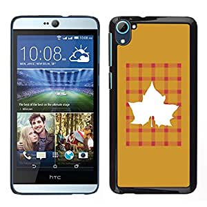 HTC Desire 826 dual Único Patrón Plástico Duro Fundas Cover Cubre Hard Case Cover - Maple Golden Brown Plaid