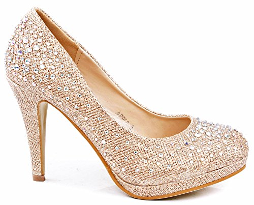 JJF Shoes Apple5 Champagne Rhinestone Glitter Sparkling Bling Formal Evening Pumps-6.5