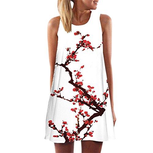 Moonuy Damen Ärmellos Sommerkleid Minikleid Strandkleid Partykleid Rundhals Rock Mädchen Blumen Drucken Kleider Frauen Mode Kleid Kurz Hemdkleid Blusekleid Kleidung F