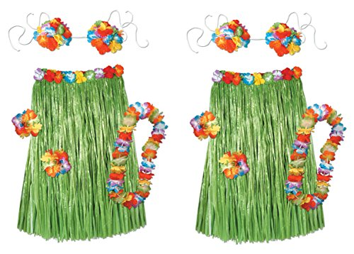 [Beistle S50494AZ2 2 Each of Adult Hula Sets, Multicolored] (Hawaiian Costumes For Adults)