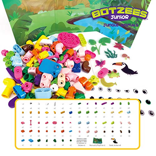 PAI TECHNOLOGY Botzees Junior Jungle Pack Building kit – Jungle Animal Toy and Construction Kit with Puzzles, Stem Toy, Educational Engineering, Ages 3,4,5, 6+ Year Old Boys & Girls (App Based)