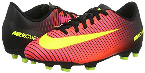 Nike Kids Boys Mercurial Vortex III FG Soccer Cleat, Crimson/Volt/Black