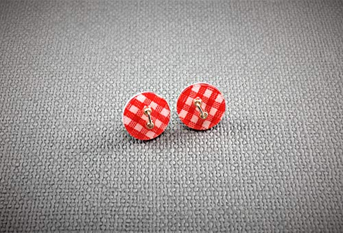 Handmade Red Gingham Pattern Button Stud Earrings/Picnic Table Cloth Pattern Stud Chic and Whimsical Fashion Accessory – ½ inch in diameter