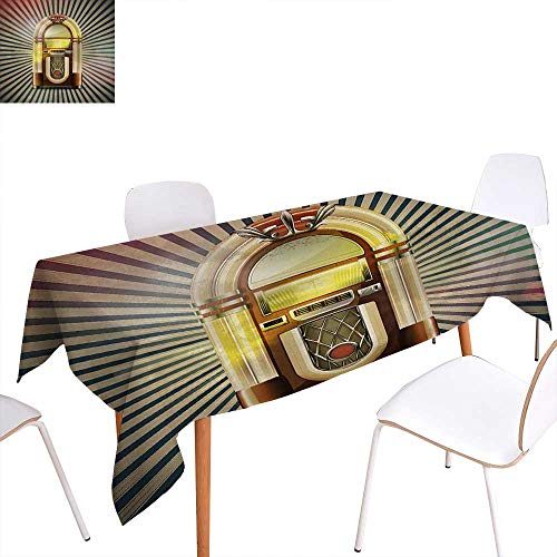 (Warm Family Jukebox Dinning Tabletop Decoration Retro Vintage 50s Pin Up Inspired Striped Backdrop Old Music Box Table Cover for Kitchen 60