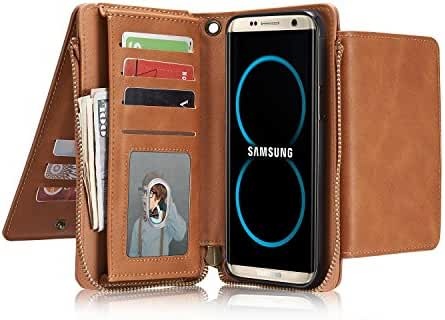 Samsung Galaxy S8/S8 Plus Case Leather Wallet Case Flip Cove with Credit Card Holder