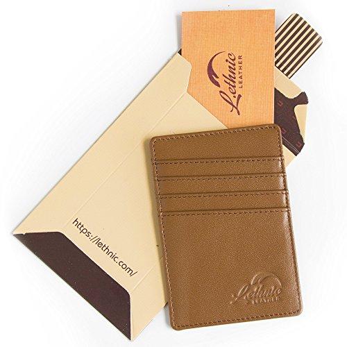 Lethnic Men's Minimalist RFID Front Pocket Slim Wallet - Business Card Holder Wallet - Safe Wallet For Travel - Best gift for Men - Genuine Leather (Dark Brown) Photo #7