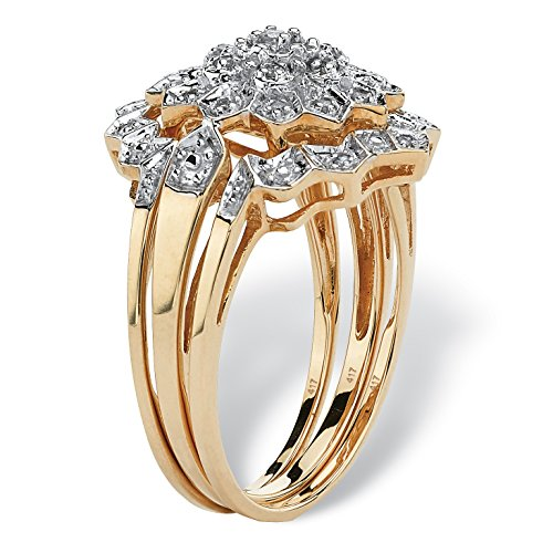 Solid 10K Gold Round Pave Diamond 3 Piece Pave Bridal Ring Set (.14 cttw, HI Color, I3 Clarity)