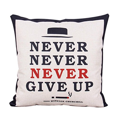 Fineshow Printing Inspiration Letters Pattern Bed Sofa Home Decor Pillow Case Cushion Cover Never Give Up