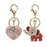 Aiphamy Heart Elephant Keychain Purse Bag Charm Key Chain Ring for Women
