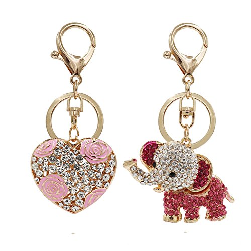 Aiphamy Heart Elephant Keychain Purse Bag Charm Key Chain Ring for Women by Aiphamy
