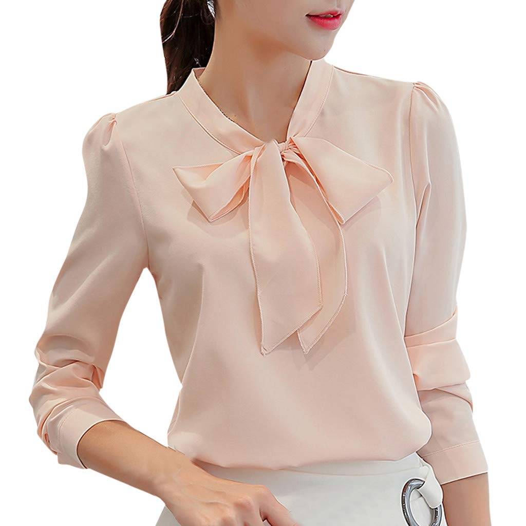 Women Work Tops Chiffon Long Sleeve Bow Tie Neck Shirts Solid Color Button Down Casual Office Blouse (S, Pink)