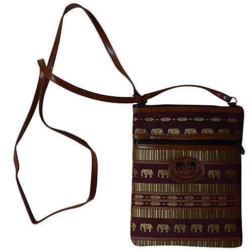 Thai Made Brown Purse Stripes & Elephants Women's Clutch by Thaimade