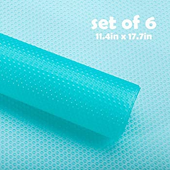 Fridge Mats Washable Non-Slip 6 PCS - Can Be Cut Refrigerator Liners Pads and Shelf Liner 17.7 x 11.4inch, Waterproof Placemats for Drawers, Shelves, Kitchen Cabinets (Transparent Blue)