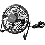 Mini USB Table Desktop Personal Fan, Metal Design, Quiet Operation, USB Cable Powered, High Compatibility Personal Table Fan with Adjustable Tilt, Desk Cooling Fan for Home & Office (6 Inches, Black)