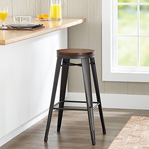 "Better Homes and Gardens 29"" Harper Stool, Gunmetal with Vintage Oak"