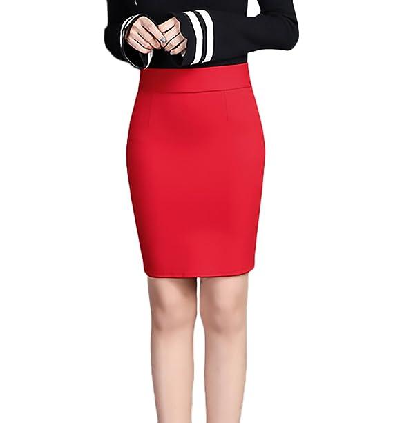 ec606994377f BOLAWOO Bleistiftrock Damen Elegant Fashion Einfarbig High Waist Stretch  Paket Hüfte Business Rock Kurz  Amazon.de  Bekleidung