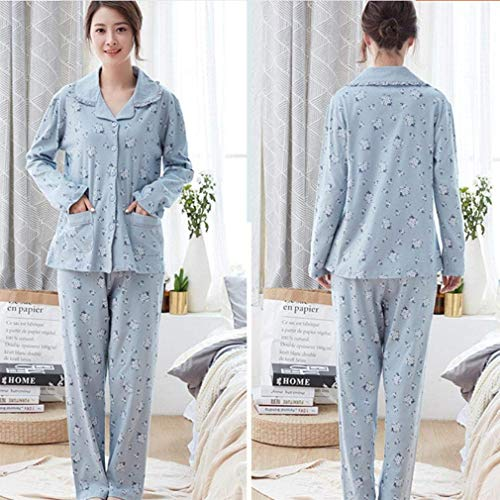 Damas Algodón Dormir Pijama Especial E Paño Otoño Calientes Para Estilo Manga Cálido De Noche Conjunto Ropa Puro Larga Karité Pijamas g4txII