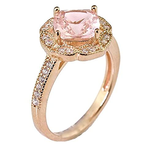 Created Pink Morganite Floral Halo Bridal Engagement Wedding Promise Ring Rose Gold Over Sterling Silver Size (Promise Ring Size 5 White Gold)