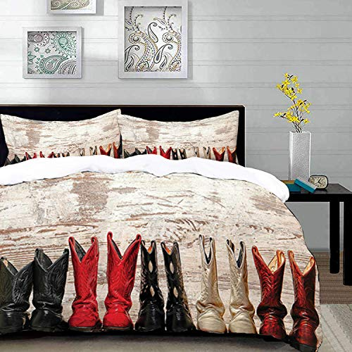 (Duvet Cover Set,Western Home Decor,American Legend Cowgirl Leather Boots Rustic Wild West Theme Cultural Folkart Print,King Size Decorative 3 Piece Bedding Set with 2 Pillow Shams,Teal Pink ,Super sof)