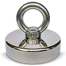 """360 LBS Pulling Force Super Powerful Round Neodymium with Countersunk Hole and Eyebolt Magnet 0.70"""" Thick x 2.95"""" Diameter for Salvage in River or Fishing"""