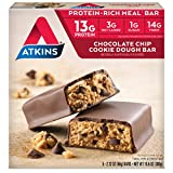 Atkins Protein-Rich Meal Bar, Chocolate Chip Cookie Dough, 5 Count (Pack of 6)