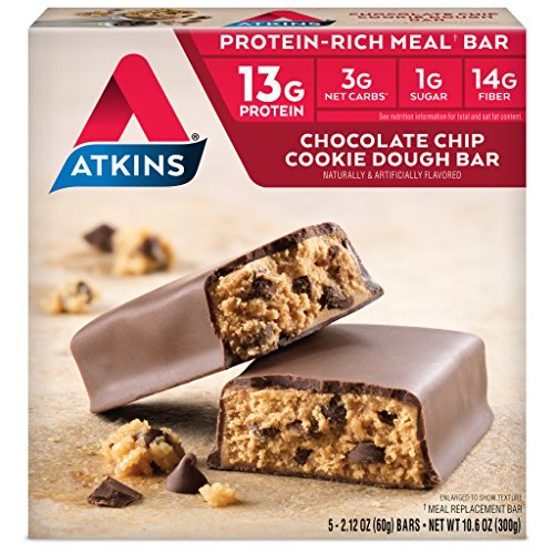 Meal Bar Chocolate Cookie - Atkins Protein-Rich Meal Bar, Chocolate Chip Cookie Dough, Keto Friendly, 5 Count (Pack of 6)