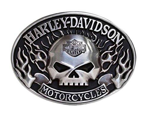 Harley Belt Buckles (Harley-Davidson Mens Belt Buckle Immunity Flame Willie G Skull Silver)