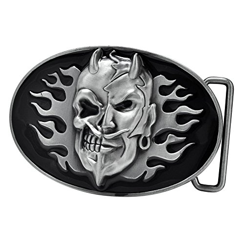 Buckle Rage Men's Devil Skull Motorcycle Fire FlameS Biker Belt Buckle - Biker Buckle