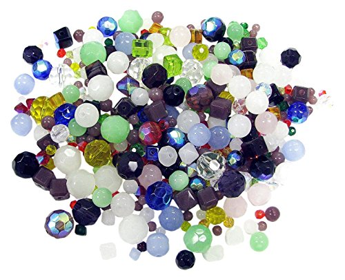 - Linpeng Chinese Crystal Glass Beads / Loose Assorted Colors / Round Faceted Round Bicone Square Faceted Cube Clear Matte surface AB Coated / Size 4 to 12mm / 0.5 lb Bulk Pack