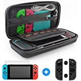 Switch Case with Screen Protector Switch Carry Case and Screen Protector and Joy-Con Gel Guards Carrying Case Travel Case Switch Glass Screen Protector
