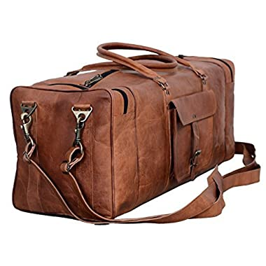 Leather Duffel Bag Large 28 inch Travel Bag Gym Sports Overnight Weekender Bag by Komal s Passion Leather
