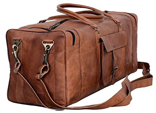 Brown Leather Duffel Bag Large 28 inch Travel Bag Gym Sports Overnight Weekender Bag